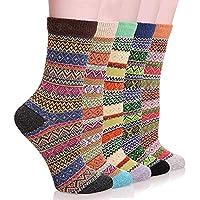 Women Winter Socks, SMALUCK 5 Pairs Women Thermal Knit Warm Casual Wool Crew Winter Ladies Socks, Multicoloured, 4/8 UK