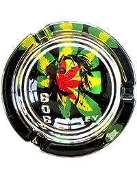 Bob Marley Psychedelic marihuana Weed de cristal redondo cenicero