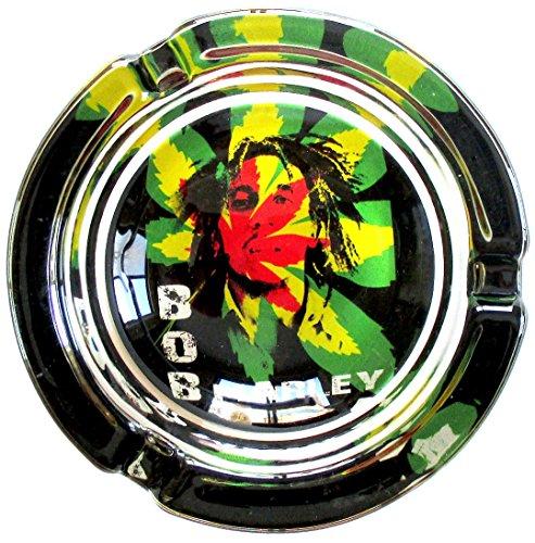 Bob Marley Psychedelic Marihuana Weed rund Glas Aschenbecher