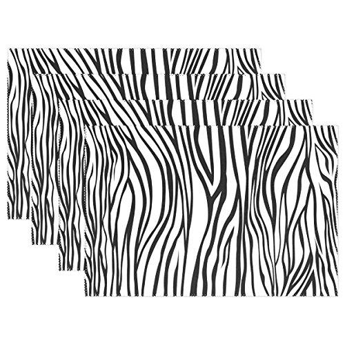 My Daily schwarz und weiß Zebra Stripe Tischsets für Esstisch Set von 4hitzebeständig waschbar Polyester Küche Tisch MATS, Polyester, multi, 12 x 18 in Multi Zebra