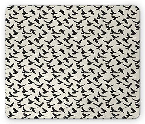 Freiheit-muster (Raven Mouse Pad, Tuschezeichnung Stil abstrakte fliegende Vogelfiguren Muster Wildtiere und Freiheit, Standardgröße Rechteck rutschfeste Gummi-Mousepad, Eierschale und schwarz)