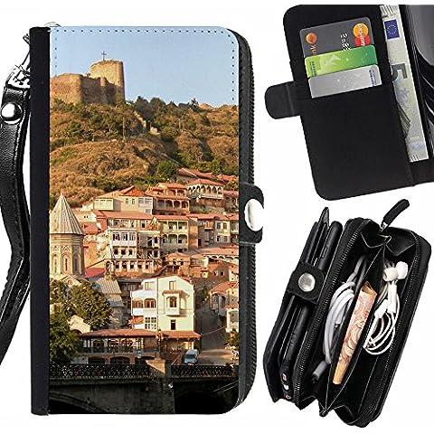 Peach Tech La Tarjeta de Crédito Slots PU Funda de cuero Monedero caso cubierta de piel Huawei Ascend P7 / Georgia