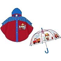 prl Mantella Pioggia e Ombrello Trasparente POMPIERE Bambino Bimbo CATARIFRANGENTE Mantellina Poncho Impermeabile e…