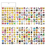 PartyErasers 6Sheets of Popular Emoji Stickers (288 Stickers Total)