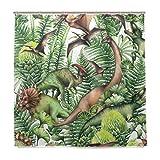 BALII Jurassic Zeitraum Watercolor Dinosaurier Duschvorhang 182,9x 182,9cm Polyester Wasserdicht mit 12Haken für Badezimmer