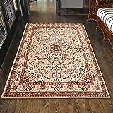 Carpeto Klassischer Orientteppich & Perserteppich mit Orientalisch Ornamente Mandala Muster Kurzflor in Beige Cream/Top Preis - ÖKO Tex (60 x 100 cm)