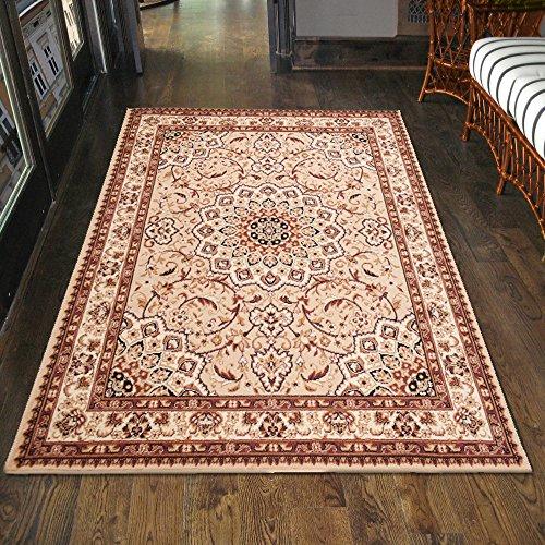 Klassischer Orientteppich & Perserteppich mit Orientalisch Ornamente Mandala Muster Kurzflor in Beige Cream / TOP Preis - ÖKO TEX (200 x 300 cm)