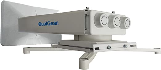QualGear QG-PM-FT1-WHT Universal Projector Wall Mount with Fine Tune Adjustments