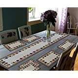 """Galaxy Home Decor Dining Table Runner With Six Mats Jacquard Fabric Set Of Six Mats With One Runner - Set Of 7 Dining Table Runner And Mats Jacquard Linen 7 Piece Mat With Table Runner - 13"""" X 18"""", Multicolour"""