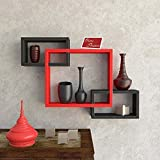 #6: Onlineshoppee Intersecting MDF Set of 3 Wall Shelves - Red & Black