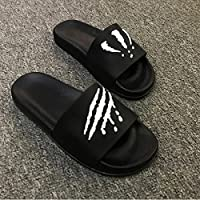 fankou Summer Men Slippers Trend Inside and Outside of The Home Bathroom Non-Slip Cool Slippers Summer,43, Black and White