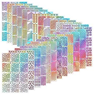 288 Pieces Nail Vinyl Stencils Nail Art Decoration Stickers Set Nail Art Design Stickers Tips Decals, 24 Sheets