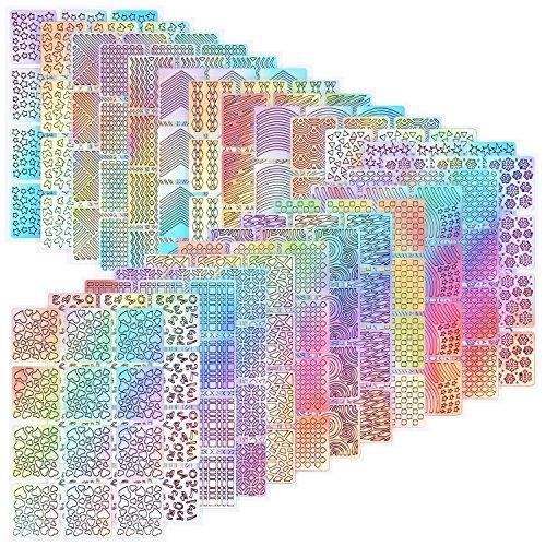288 Stücke Nagel Vinyl Schablonen Nagel Kunst Dekoration Aufkleber Set Nail Art Design Aufkleber Tipps Decals, 24 Blatt -