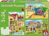 Schmidt Spiele Puzzle 56216 - Standard 3 x 24 Teile auf Dem Bauernhof