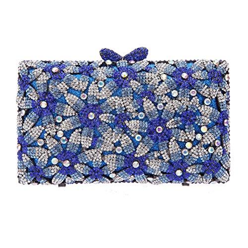 Bonjanvye Glitter Floral Sakura Purses and Handbags for Girls Wedding Party Dress Bag Blue
