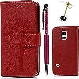 Funda para Samsung Galaxy S5 Mini, S5 Mini Funda Libro de Cuero Impresión de Suave PU Premium e Silicone TPU Carcasa Con Tapa y Cartera, Correa de mano, Soporte Plegable, Ranuras para Tarjetas y Billetera, Cierre Magnético - Árbol Rojo