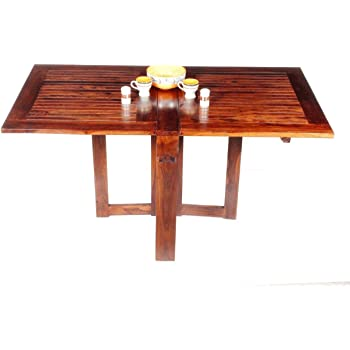 Home and Bazaar Handicraft Sheesham Wood Strip Design Folding Dining Table, 63.6 x 35.6 x 30-inch (Brown)