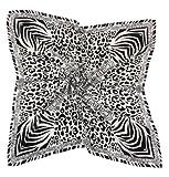 Nella-Mode zeitlos elegantes SEIDENTUCH in attraktivem & modernem-Design, Zebra & Leo, Schwarz / Weiss, Topqualität, 85x85 cm