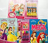 Disney Princess 5 piece Bundle Kids Activity Books Fun Pack includes Reading Colouring Stickers Puzzles Games and More including Pencil Crayons and Pens Retail Value £18.95