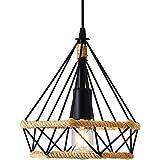 Lampe à Suspension Vintage,Lustres en corde de chanvre Rétro,Suspension Industrielle,Suspension en forme de diamant,Plafonnie