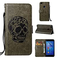 Huawei P8 Lite 2017 Case CUSKING Shockproof Leather Filp Wallet Case with Kick Stand and Wrist Strap for Huawei P8 Lite 2017, Embossed Skull Pattern Magnetic Full Protective Bumper Case Cover �?? Green
