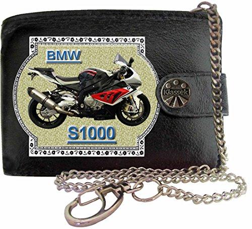 BMW S1000 Image sur portefeuille RFID pour hommes de marque KLASSEK vrai cuir avec chaîne Moto Bike cadeau d'accessoire avec boîte en métal produit BMW Non officiel