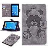 Fire 7 Hülle, Conber Ultra Dünn Leder Intelligent Handyhülle, Tablet PC Schutztasche Klappetui Schutzhülle für Amazon Kindle Fire 7 (7 Zoll Tablet, 7. Generation - 2017) - Grau