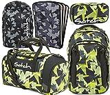 satch match Gravity Jungle 5er Set Rucksack, Sporttasche, Schlamperbox, Heftebox & Regencape Schwarz