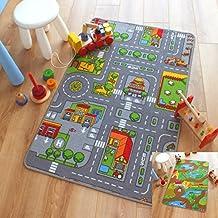Alfombrilla de juegos infantiles, con diseño reversible de animales de granja y carretera (100x 165cm)