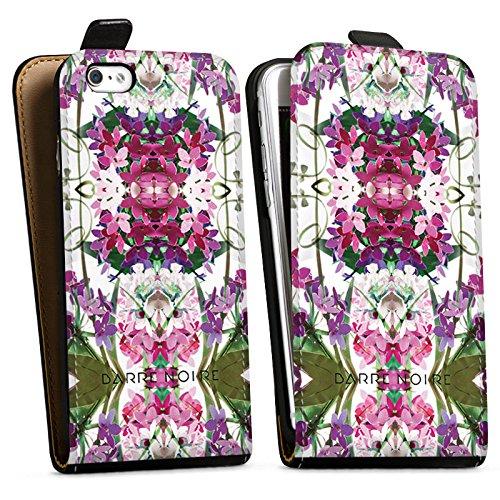 Apple iPhone X Silikon Hülle Case Schutzhülle Blumen Blumenmuster Muster Downflip Tasche schwarz