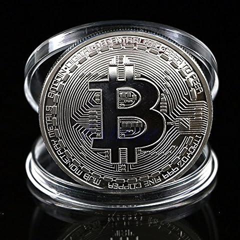 CrewPros (TM) 1pc bañado en plata Bitcoin moneda coleccionable BTC Coin Art Collection regalo física