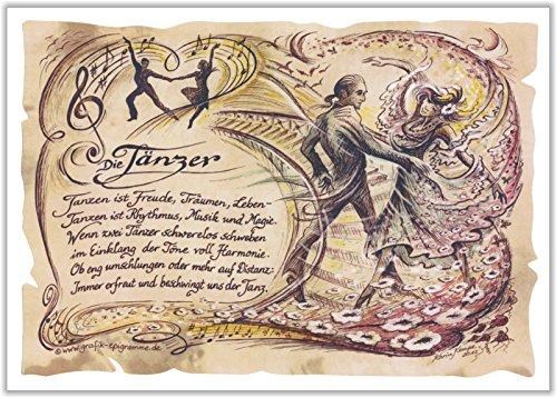 Geschenk Tanz Tänzer Tänzerin Tanzlehrer Tanzen Präsent Zeichnung Color 30 x 21 cm