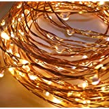Quace Copper String Led Light 10M 100 LED Battery Operated Wire Decorative Fairy Lights Diwali Christmas Festival - Warm White