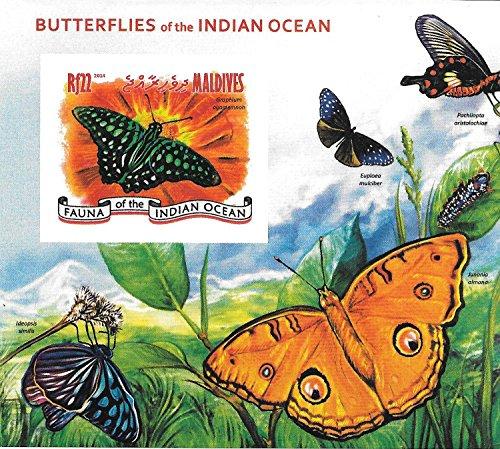 Francobolli da Collezione - Le farfalle del Oceano Indiano MNH francobollo singolo foglio / Maldive / 2014