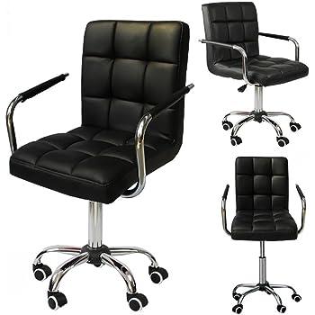 Yahee Sedia a rotelle da ufficio girevole imbottita ergonomica con rivestimento in ecopelle Altezza regolabile (nero)