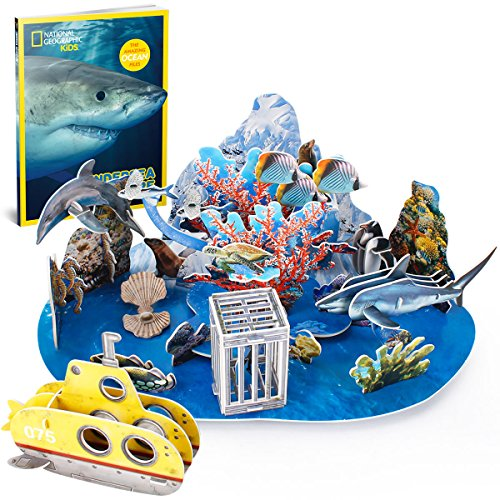 CubicFun ds0974h National Geographic Zimmerdekorations-Adventure 3D Puzzle, 63 Stück (mit 32 Seiten Booklet) (National Geographic Kids Halloween)