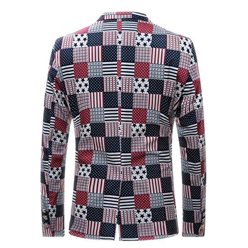 Cloudstyle Slim Fit Herren bunter Sakko Muster Casual Blazer Kostüm Party Bild Farbe 4
