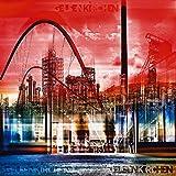 Artland Qualitätsbilder I Poster Kunstdruck Bilder 50 x 50 cm Städte Deutschland Digitale Kunst Rot A8FB Gelsenkirchen Skyline Collage 01