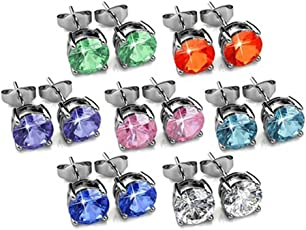 Yellow Chimes Crystals from Swarovski 7 Days 7 Pairs 18K Platinum Plated Earrings Set for Women and Girls