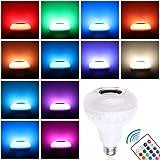 Winbang Bombilla Altavoz Bluetooth, E27 7W Música LED RGBW Luz de Altavoz Cambia de Color Lámpara con Mando a Distancia, Hoga