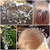 Bridal Flower Crown-Headband, halo, circlet, Gypsophila/Babies Breath, Bridesmaids, Flower girl, Prom, Bohemian,woodland faerie wedding white pearl beads, toddler/child/adult sizes available