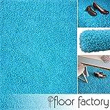 floor factory Hochflor Shaggy Teppich Loca türkis/blau 160x230cm - Flauschiger und günstiger Langflorteppich
