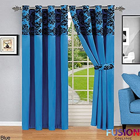 RING TOP FULLY LINED PAIR EYELET READY CURTAINS LUXURY DAMASK