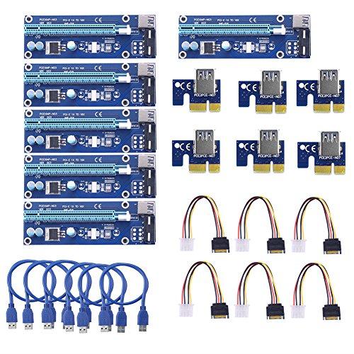SIENOC USB 3.0 PCI-E Express 1x zu 16x Extender Riser Card Adapter Power Kable Mining (6 Stück) -