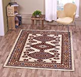 """A2Z Rug Traditional Qashqai 5576 Stylish Collection Area Rugs, Cream 140x200 cm - 4'7""""x6'7"""" ft"""