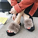 LIXIONG pantofole Femmina estate Fondo di torta di pino Fondo spesso moda wedgies scarpa, 4 colori -Scarpe di moda (Colore : Cachi, dimensioni : EU38/UK5.5/CN38/240)