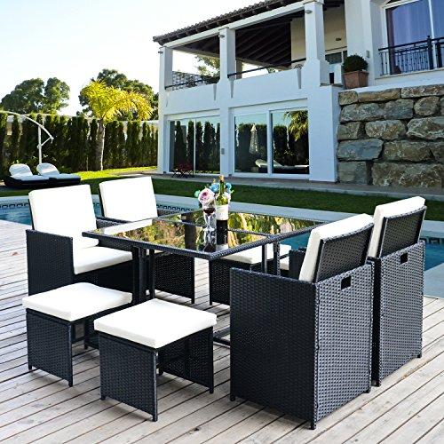 Merax Poly Rattan Lounge Gartenmöbel Set Sitzgruppe klappbare Essgruppe11/9 PCs (9 PCs, Schwarz) Bild 2*