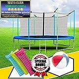 TimeTec24 Sports Trampolin 244cm 2,4m Gartentrampolin 8ft mit Zubehör Sicherheitsnetz Leiter Randabdeckung Geschenke