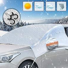 Orlegol Frontscheibe Abdeckung, Sonnenschutz Scheibenabdeckung Winter für Auto, Windschutzscheiben Autosonnenschutz Abdeckung Schneeschutz Eisschutz Hitzeschutz UV-Schutz für meisten SUV (245*140cm)