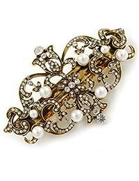 Pasador de pelo con diseño de flores de estilo vintage con perlas blancas y cristales transparentes, 85mm a través.